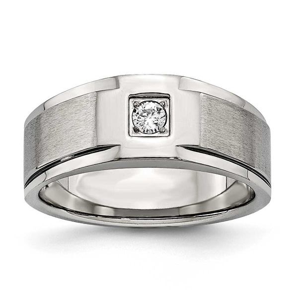 Chisel Stainless Steel Brushed and Polished with CZ Ring
