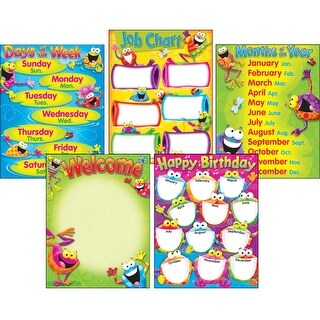 Trend Enterprises Frog-tastic! Learning Charts Combo Pack Classroom Basics, Grade Pre K - 3, 17 L x 22 W in, Set of 5