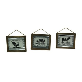 Set of 3 Farm Fresh Barnyard Animals Galvanized Metal Wall Hangings