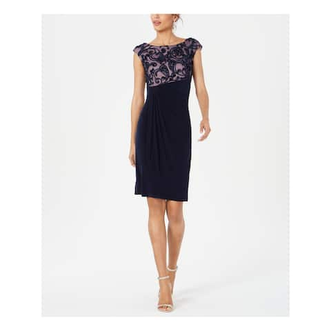 CONNECTED APPAREL Navy Cap Sleeve Above The Knee Dress 10