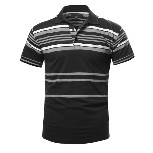 NE PEOPLE Mens Basic Stripe Polo T-shirts [NEMT273]. Opens flyout.