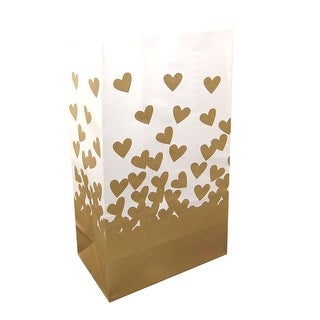 """Pack of 24 Elegant White and Gold Heart Wedding Luminaria Bags 11"""""""