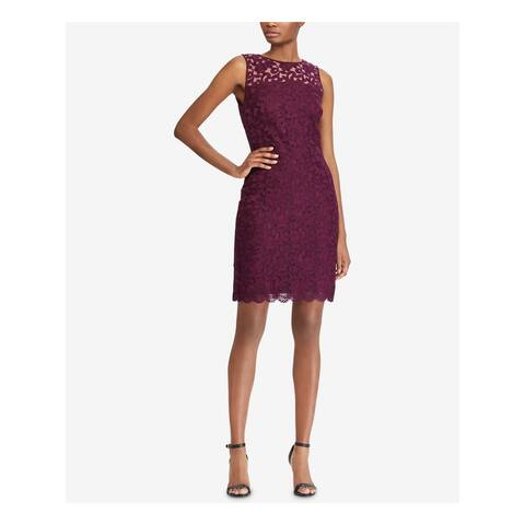 RALPH LAUREN Maroon Sleeveless Above The Knee Sheath Dress Size 14