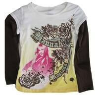 Disney Little Girls Yellow White Hanna Montana Print Long Sleeved Shirt  4-6X