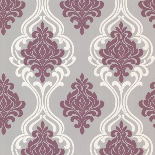 Brewster 2533 20211 Indiana Purple Damask Wallpaper