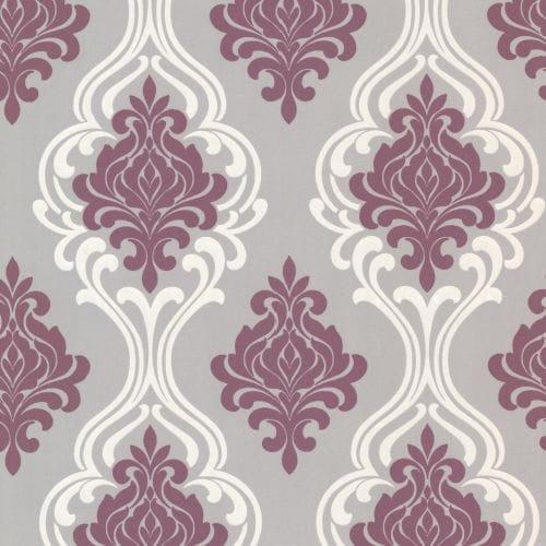 Brewster 2533-20211 Indiana Purple Damask Wallpaper
