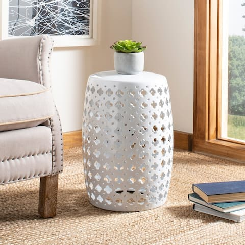 Safavieh Lacey White Ceramic Decorative Garden Stool