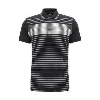Hugo Boss Men's Paddy 5 Black Striped Polo T-Shirt