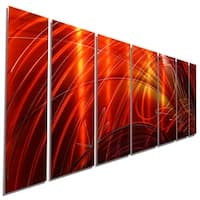 Statements2000 Red / Gold Contemporary Metal Wall Art Painting by Jon Allen - Tail Spin II