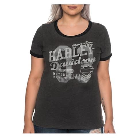 Harley-Davidson Womens Thrill Seeker Short Sleeve Crew Ringer Tee, Heather Black
