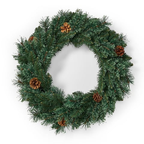 "Pensacola 24"" Pine Pre-Lit Wreath by Christopher Knight Home - Green"