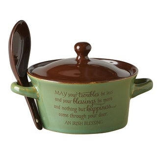 "Irish Blessing Green And Brown Covered Stoneware Bowl - 5"" Wide"