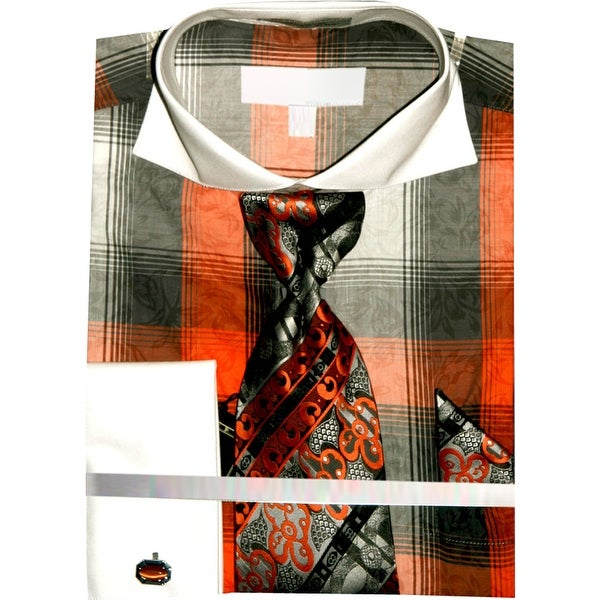 Mens Checker Pattern Two Tone French Cuff Shirts with Cuff Links