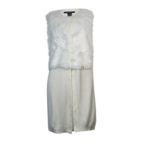 Alfani Women's Faux-Fur Knit Long Vest Cardigan (XS, Cloud) - Cloud - xs