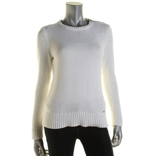 Lauren Active Womens Pullover Sweater Elbow Patches Ribbed Trim - s
