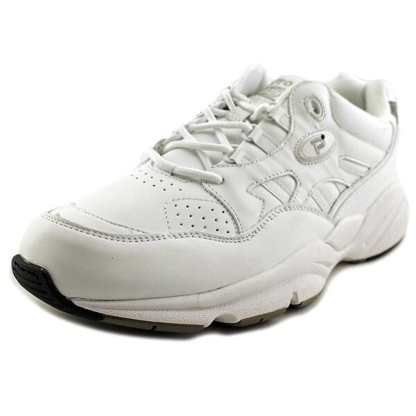 Propet Stability Walker Men S Round Toe Synthetic White Walking Shoe