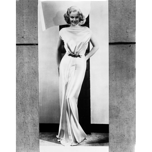 6a99100fd8 Shop Jean Harlow Posed in White Gathered Bodice Silk Shoulder Dress and  Waist Belt with Straight Skirt and Pleated Bottom Photo Print - Free  Shipping On ...