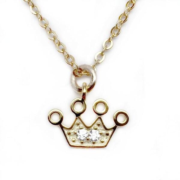 """Julieta Jewelry CZ Crown Gold Charm 16"""" Necklace"""