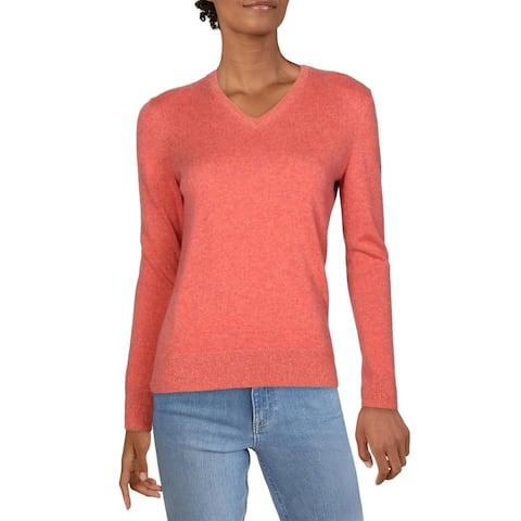 Lafayette Womens Sweater Cashmere V-Neck - Carnelian Melange