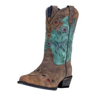 Dan Post Western Boots Girls Bluebird Kids Cowboy Tan Teal