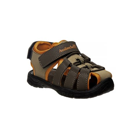 Avalanche Brown Orange Closed Toe Rugged Sandals Little Boys