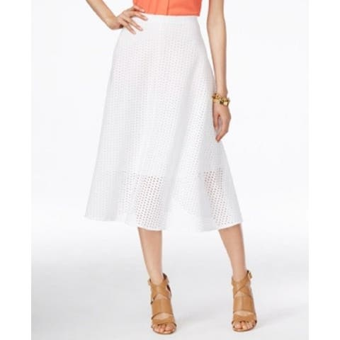 Alfani Bright Eyelet Women's Flared Full Skirt White 2XL - XXL