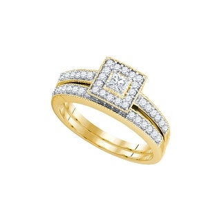 1/2Ctw Diamond 1/8Ct(Cpr) Bridal Engagement Ring 10K Yellow-Gold