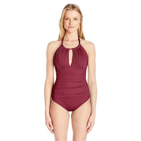 Kenneth Cole New York Women's Sexy Solid High Neck Mio With Tummy Toner SZ: M