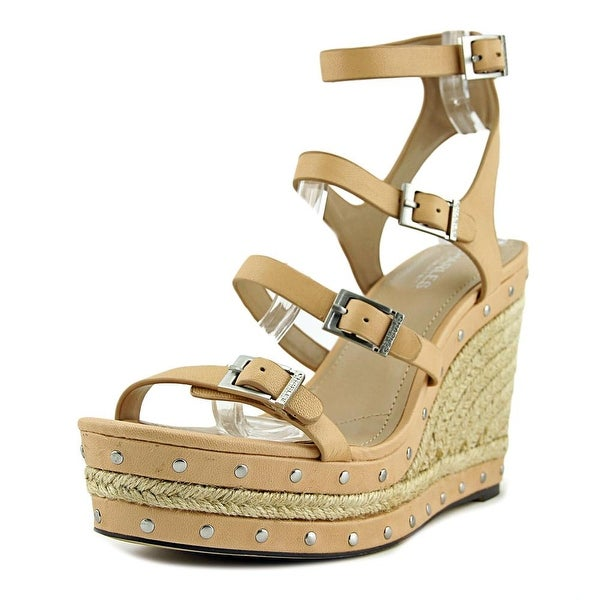 Charles By Charles David Larissa Women Open Toe Leather Nude Wedge Sandal