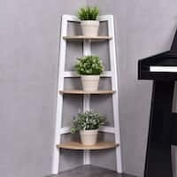 Costway 3 Tier Wood Corner Bookcase Shelf Ladder Shelf Wall Bookshelf Display Stand - as pic