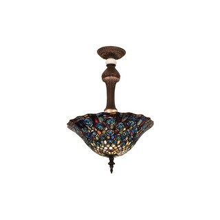 Meyda Tiffany 31101 Stained Glass / Tiffany Semi-Flush Ceiling Fixture from the Peacock Feather Collection