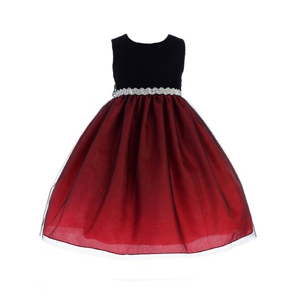 6434ca0152ae Shop Crayon Kids Little Girls Red Black Bejeweled Waist Flower Girl Dress -  Free Shipping On Orders Over $45 - Overstock - 23140826