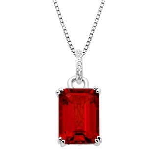 10 ct Created Ruby Pendant with Diamond in Sterling Silver - Red