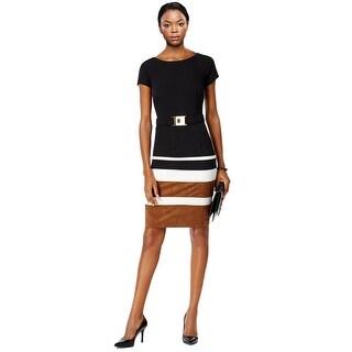 Sandra Darren Belted Faux Suede Striped Sheath Dress - 16