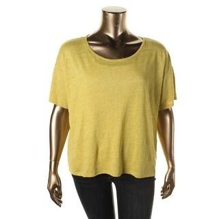 Eileen Fisher Womens Parus Linen Short Sleeves Pullover Top - XL