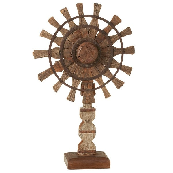"""33"""" Brown Vintage-Inspired Rustic Finish Charkha Spinning Wheel on Stand - N/A"""
