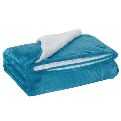 Sherpa Fleece Throw Blanket Reversible Plush Bed Blanket