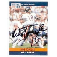 Mike Tomczak Autographed Football Card Chicago Bears 1990 Score No