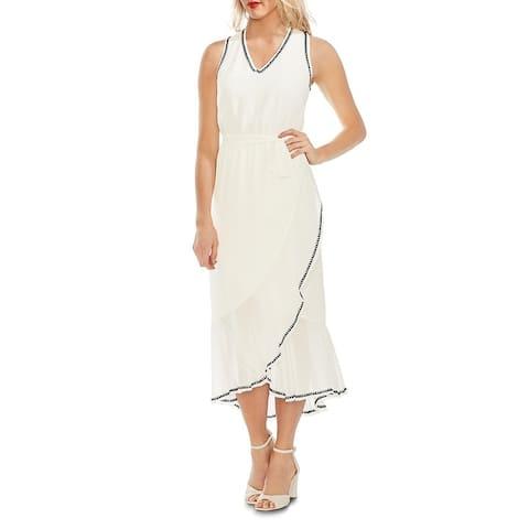 Vince Camuto Womens Maxi Dress Sheer Ruffle Hem