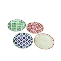 Set of 4 Colorful Belize Porcelain Appetizer Plates with Gift Box