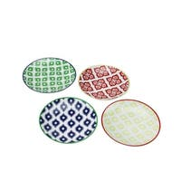 Set of 4 Colorful Belize Porcelain Appetizer Plates with Gift Box - Blue