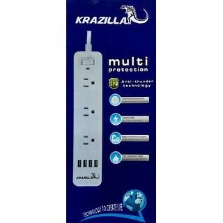 NEW - KRAZILLA KZC-PL01 Anti-thunder Power Strip and USB Hub - White