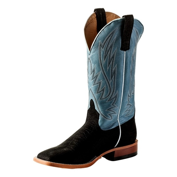 Horse Power Western Boots Mens Roper Tabs Midnight Hippo Print
