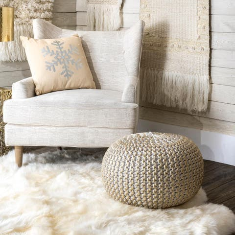 nuLOOM Ling Round Knit Filled Ottoman Pouf