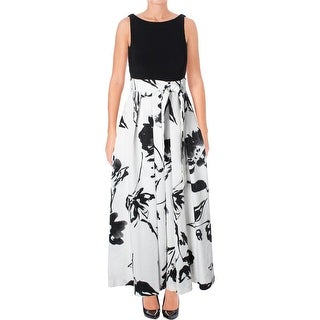 Lauren Ralph Lauren Womens Petites Evening Dress Floral Print Pleated