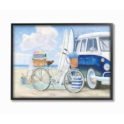 Stupell Industries Bike and Van Beach Nautical Blue White Painting Framed Wall Art