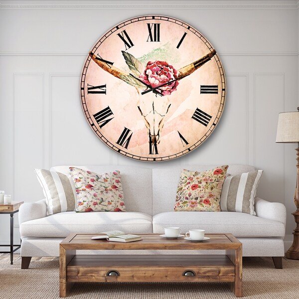Designart 'Bull Skull and Flower' Floral Wall CLock. Opens flyout.