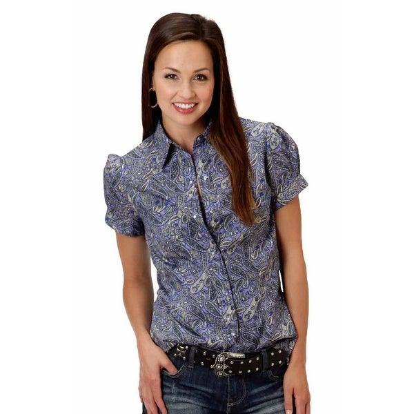 b0cebd06301716 Shop Roper Western Shirt Womens S/S Snap Paisley Gray - Free Shipping On  Orders Over $45 - Overstock - 15657493