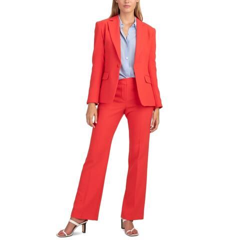 Trina Turk Womens Pistache One-Button Blazer Flap Pockets One Button - Orange