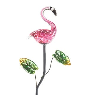 Pink Flamingo Garden Stake - Lighted Solar Powered Lawn Ornament - 8 in. x 33 in.